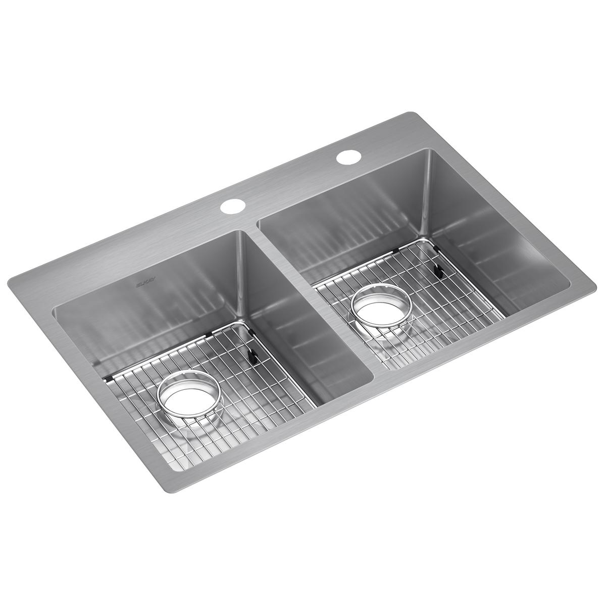 "Elkay Crosstown Stainless Steel 33"" x 22"" x 9"", Equal Double Bowl Dual Mount Sink Kit"