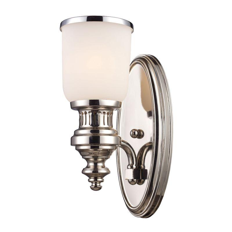 Elk Lighting 66110-1 Chadwick 1 Light Wall Sconce In Polished Nickel And White Glass
