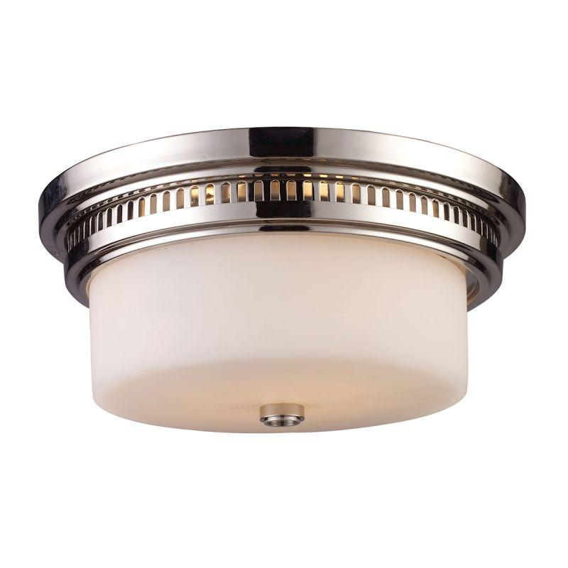 Elk Lighting 66111-2 Chadwick 2 Light Flushmount In Polished Nickel And White Glass