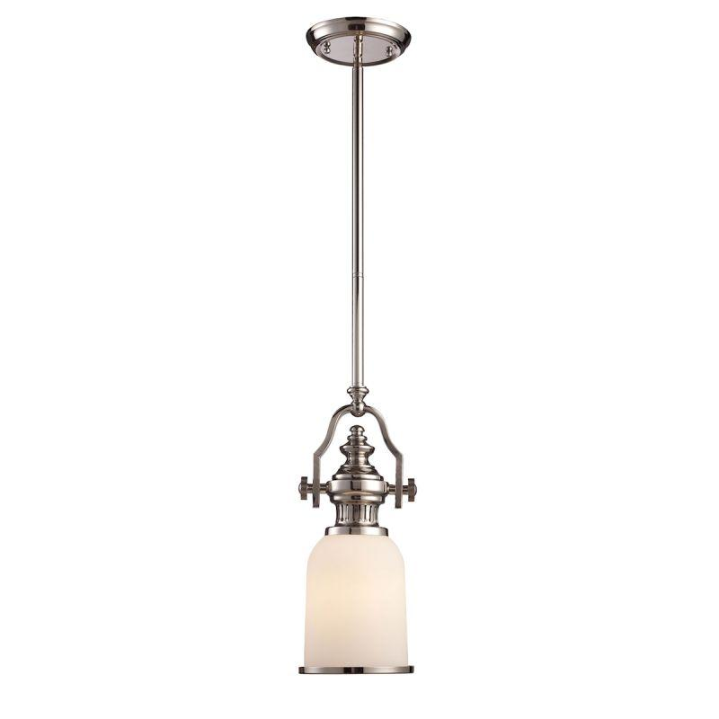 Elk Lighting 66112-1 Chadwick 1 Light Mini Pendant In Polished Nickel And White Glass