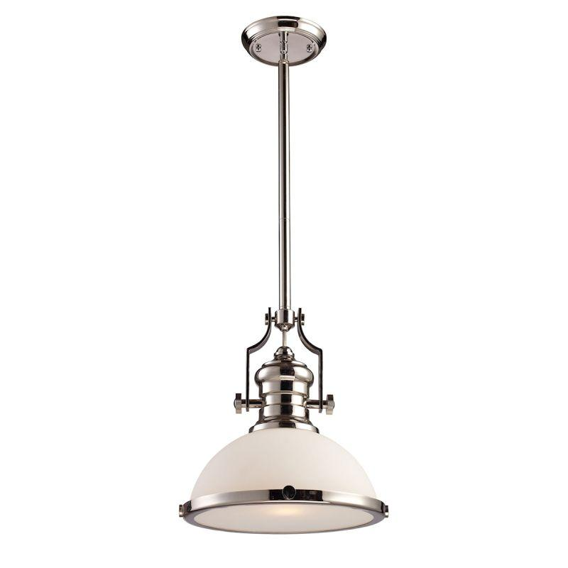 Elk Lighting 66113-1 Chadwick 1 Light Pendant In Polished Nickel With White Glass