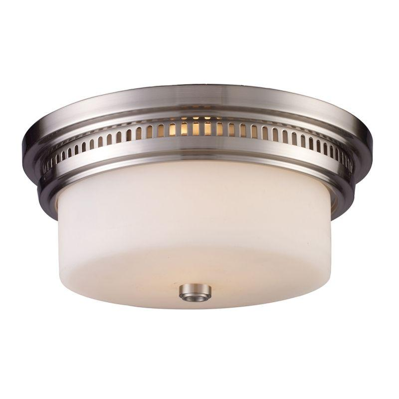 Elk Lighting 66121-2 Chadwick 2 Light Flushmount In Satin Nickel And White Glass