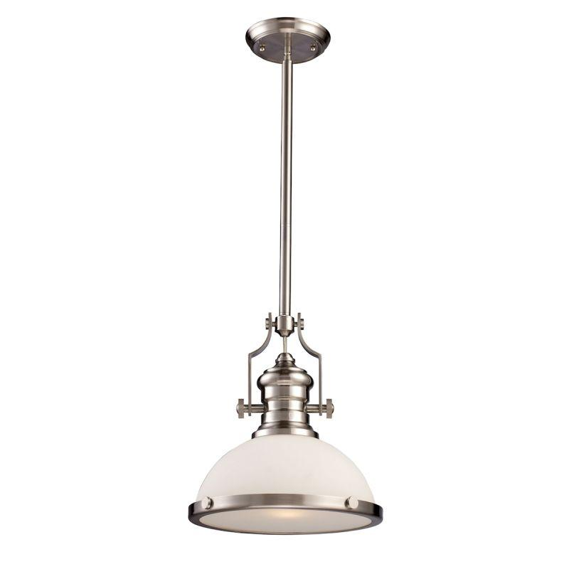 Elk Lighting 66123-1 Chadwick 1 Light Pendant In Satin Nickel With White Glass