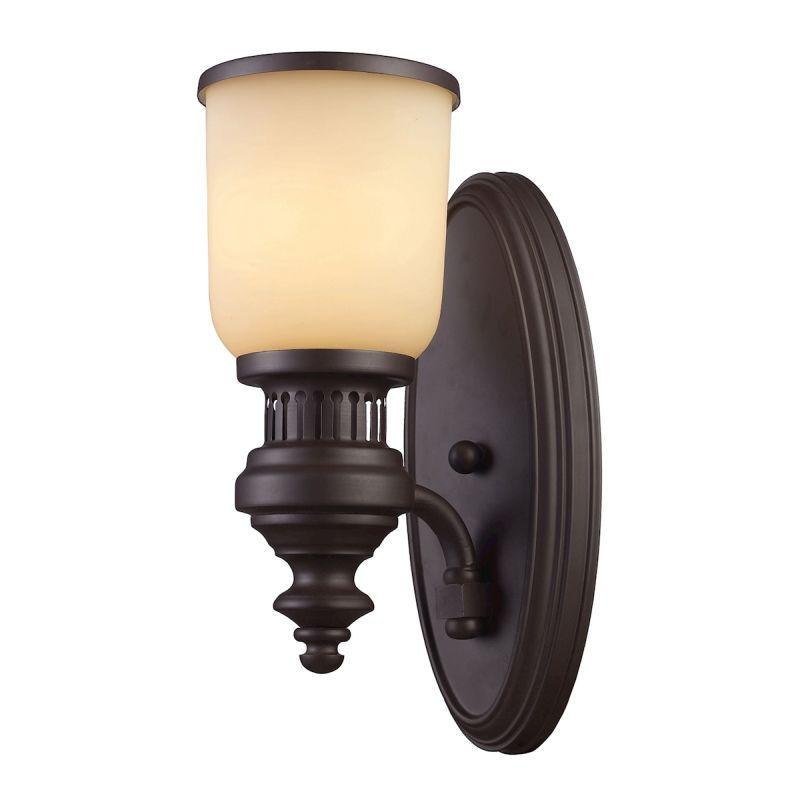 Elk Lighting 66130-1 Chadwick 1 Light Wall Sconce In Oiled Bronze And Amber Glass