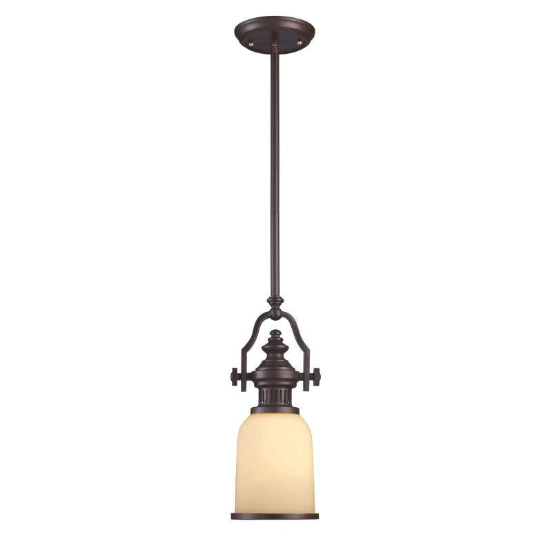 Elk Lighting 66132-1 Chadwick 1 Light Mini Pendant In Oiled Bronze And Amber Glass