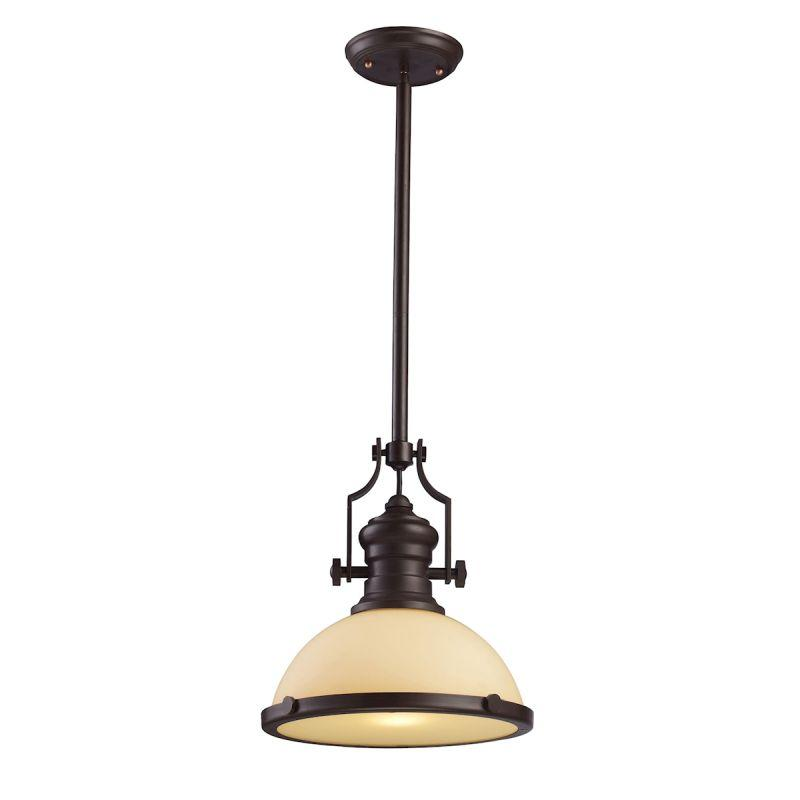 Elk Lighting 66133-1 Chadwick 1 Light Pendant In Oiled Bronze And Amber Glass