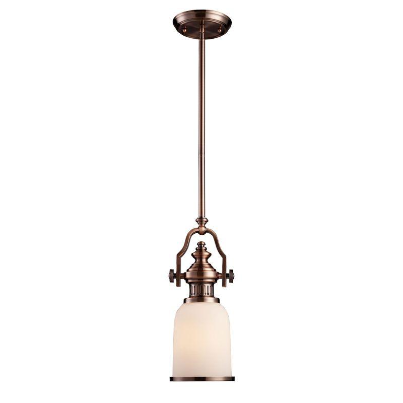 Elk Lighting 66142-1 Chadwick 1 Light Mini Pendant In Antique Copper And White Glass