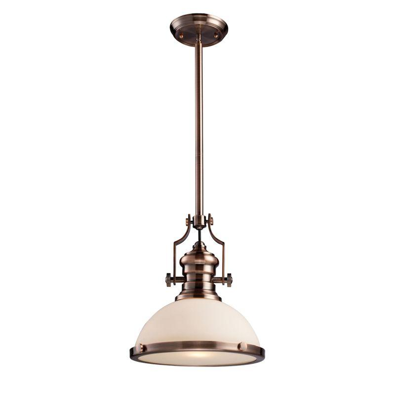 Elk Lighting 66143-1 Chadwick 1 Light Pendant In Antique Copper And White Glass