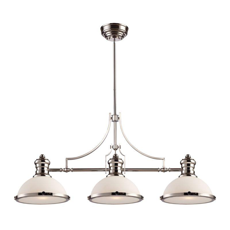 Elk Lighting 66215-3 Chadwick 3 Light Billiard In Polished Nickel And White Glass