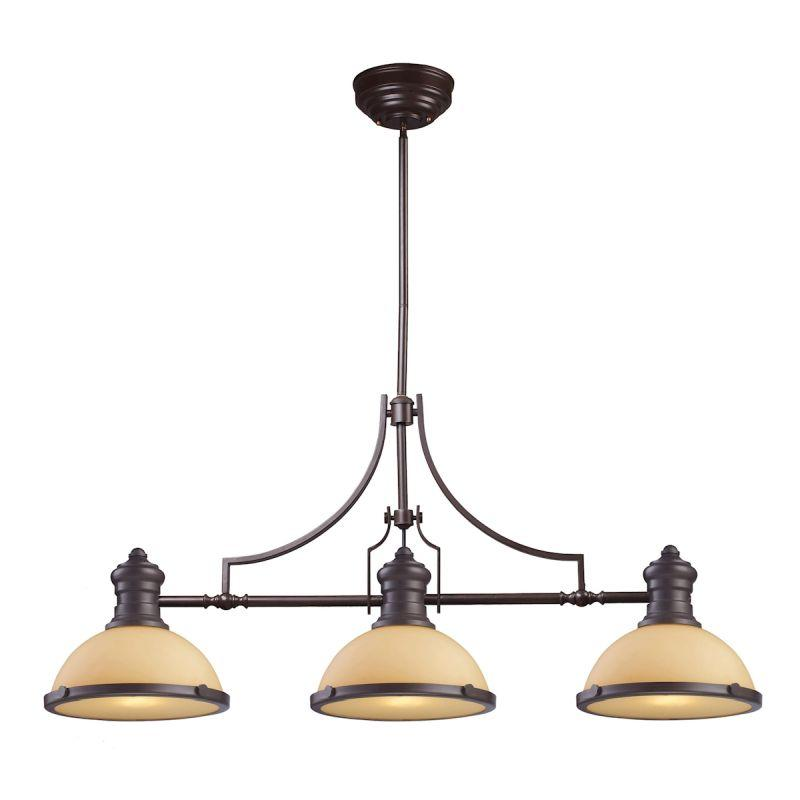 Elk Lighting 66235-3 Chadwick 3 Light Billiard In Oiled Bronze And Amber Glass
