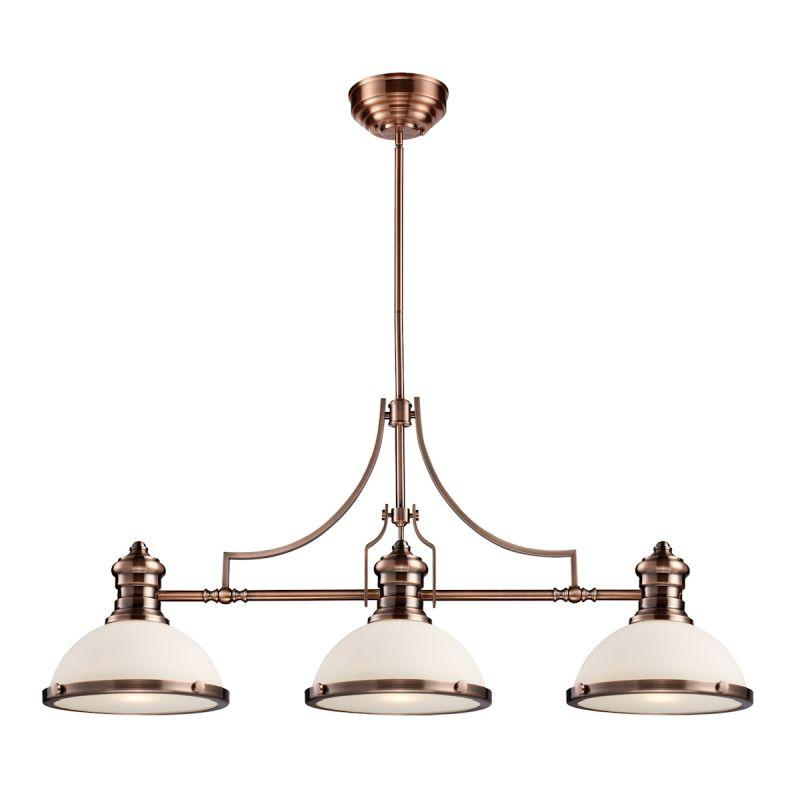 Elk Lighting 66245-3 Chadwick 3 Light Billiard In Antique Copper And White Glass