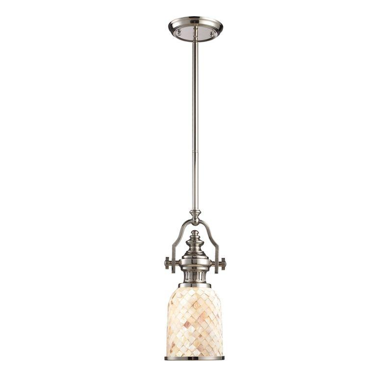 Elk Lighting 66412-1 Chadwick 1 Light Pendant In Polished Nickel And Cappa Shells