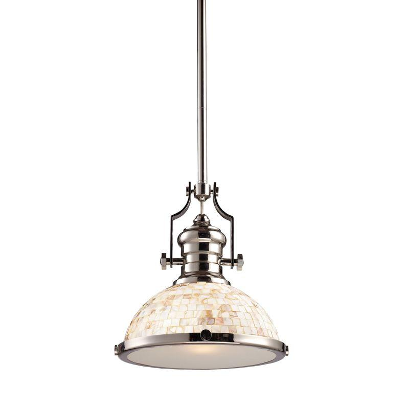 Elk Lighting 66413-1 Chadwick 1 Light Pendant In Polished Nickel And Cappa Shells