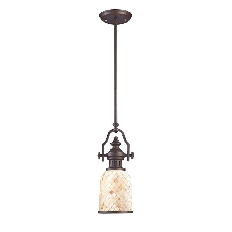 Elk Lighting 66432-1 Chadwick 1 Light Pendant In Oiled Bronze And Cappa Shells