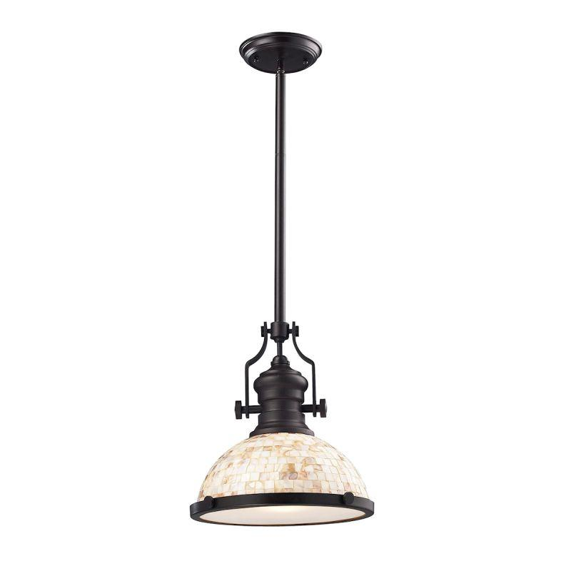 Elk Lighting 66433-1 Chadwick 1 Light Pendant Oiled Bronze And Cappa Shells