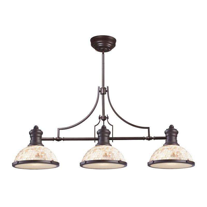 Elk Lighting 66435-3 Chadwick 3 Light Billiard Light In Oiled Bronze And Cappa Shells