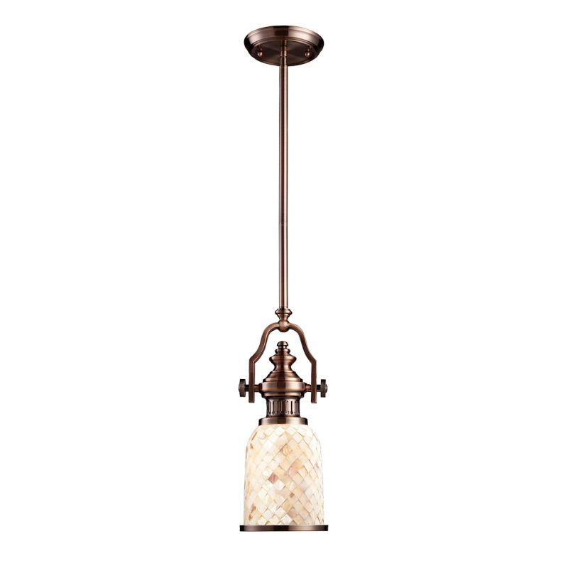 Elk Lighting 66442-1 Chadwick 1 Light Pendant In Antique Copper And Cappa Shells