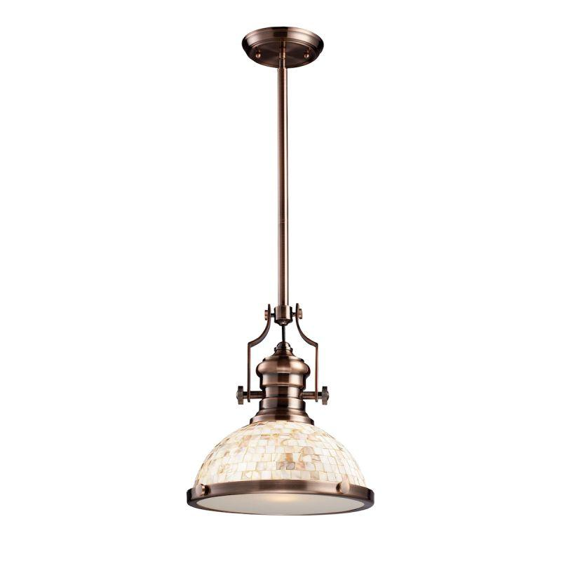 Elk Lighting 66443-1 Chadwick 1 Light Pendant Antique Copper And Cappa Shells
