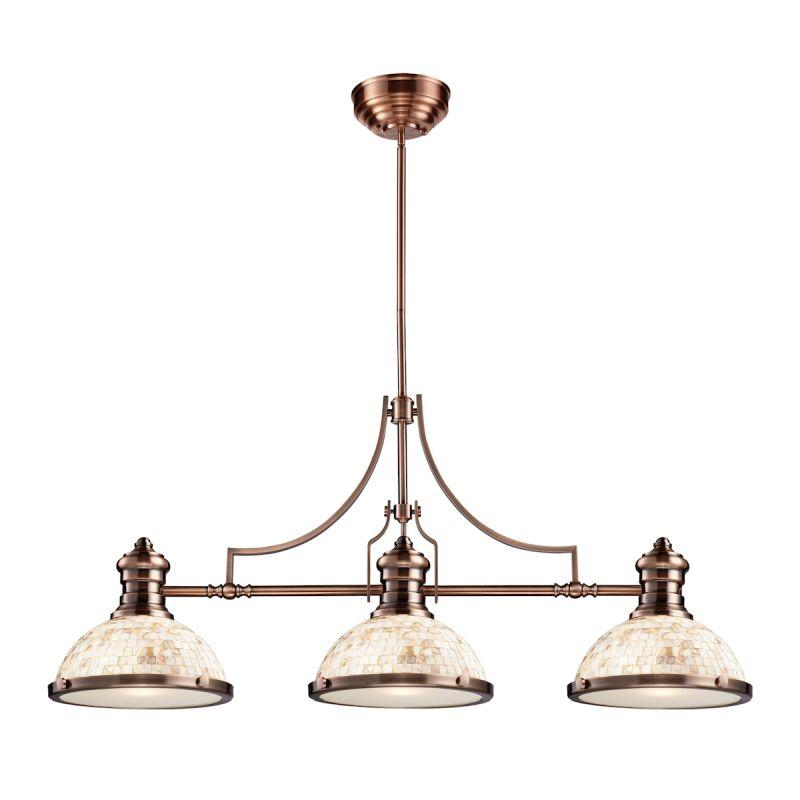 Elk Lighting 66445-3 Chadwick 3 Light Billiard In Antique Copper And Cappa Shells
