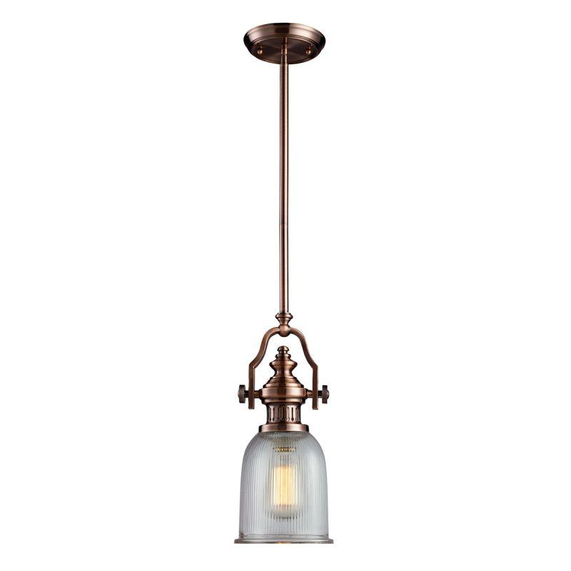 Elk Lighting 66751-1 Chadwick 1 Light Pendant In Antique Copper And Halophane Glass