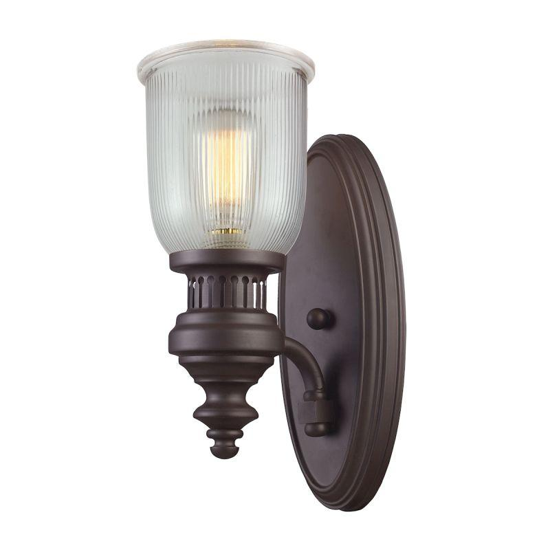 Elk Lighting 66760-1 Chadwick 1 Light Wall Sconce In Oiled Bronze And Halophane Glass