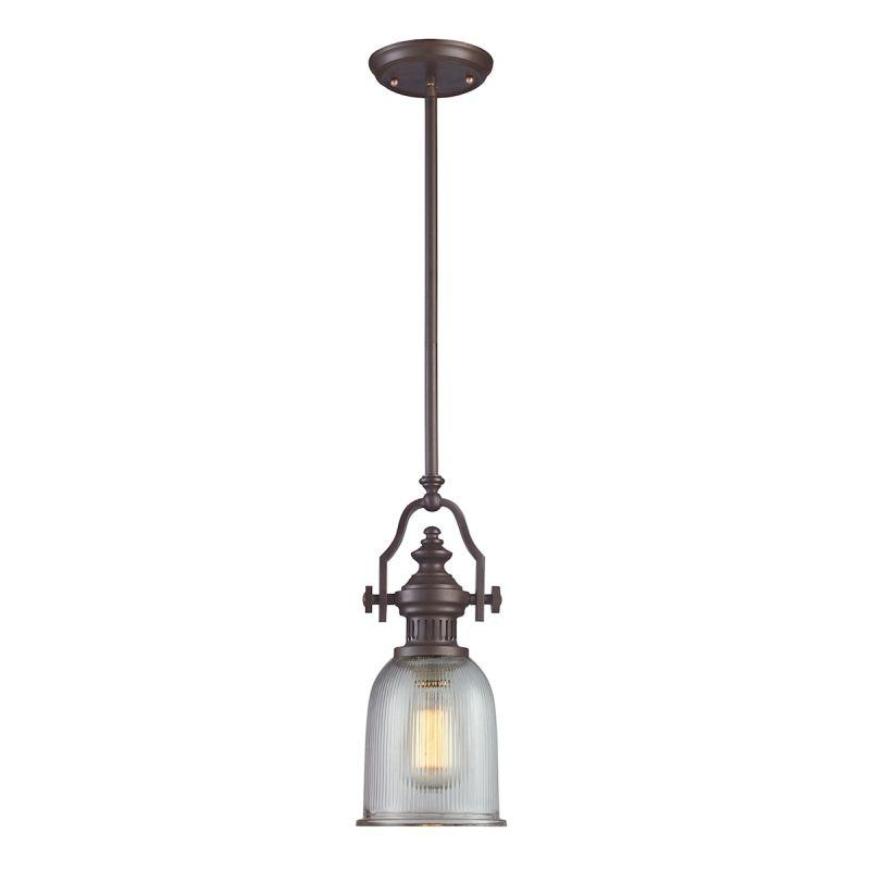Elk Lighting 66761-1 Chadwick 1 Light Pendant In Oiled Bronze And Halophane Glass