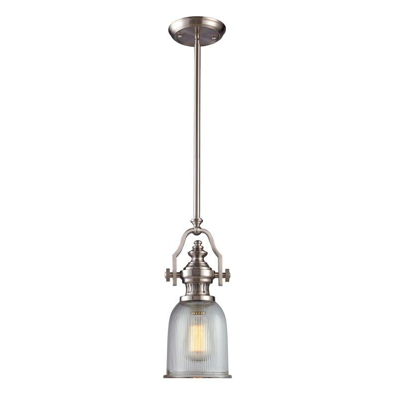 Elk Lighting 66771-1 Chadwick 1 Light Pendant In Satin Nickel And Halophane Glass