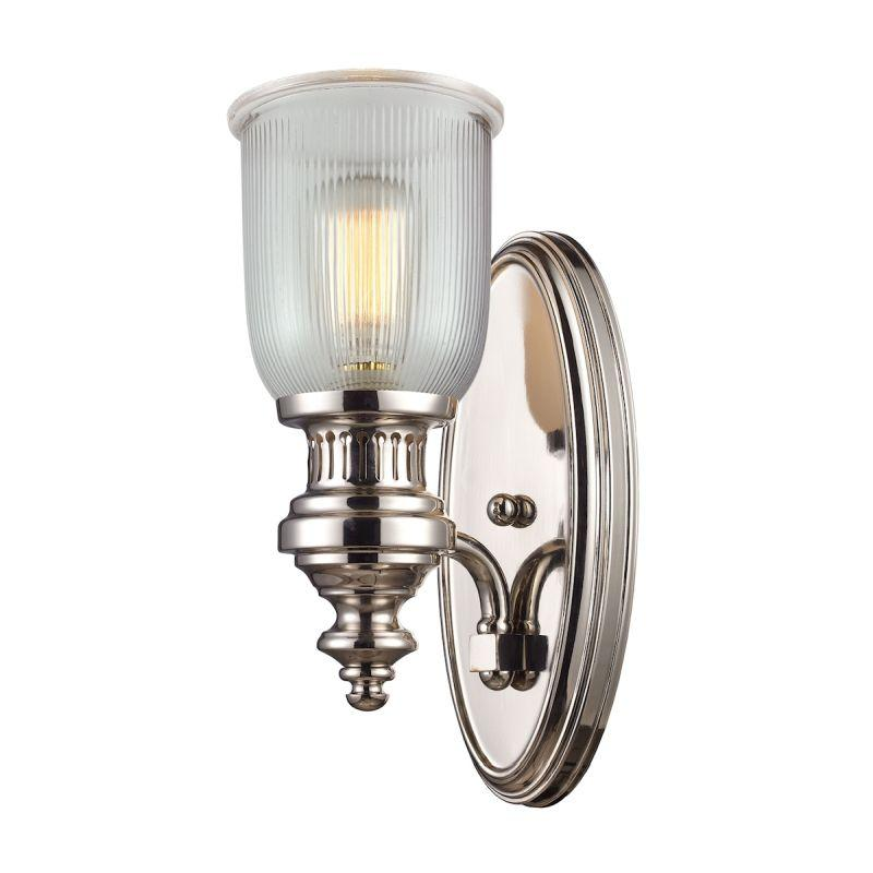 Elk Lighting 66780-1 Chadwick 1 Light Wall Sconce In Polished Nickel And Halophane Glass