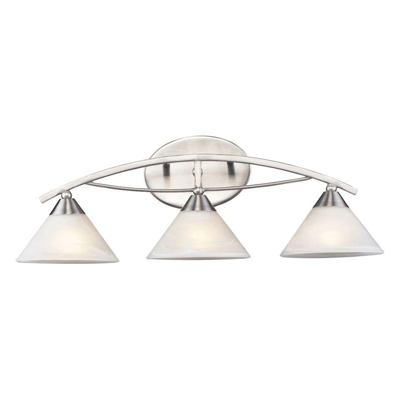 Elk Lighting 7632/3 Elysburg 3 Light Vanity In Satin Nickel And White Glass