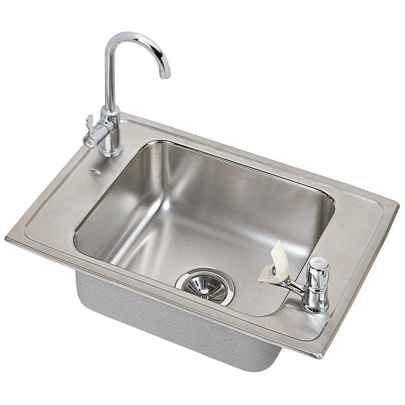 "Elkay CDKAD251765C Celebrity Stainless Steel 25"" x 17"" x 6-1/2"", Single Bowl Top Mount Classroom ADA Sink and Faucet Kit"