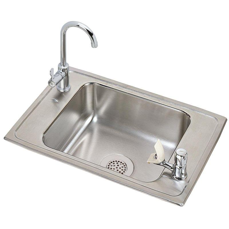 "Elkay CDKAD2517VRC Celebrity Stainless Steel 25"" x 17"" x 6-1/2"", Single Bowl Top Mount Classroom ADA Sink and Faucet Kit"