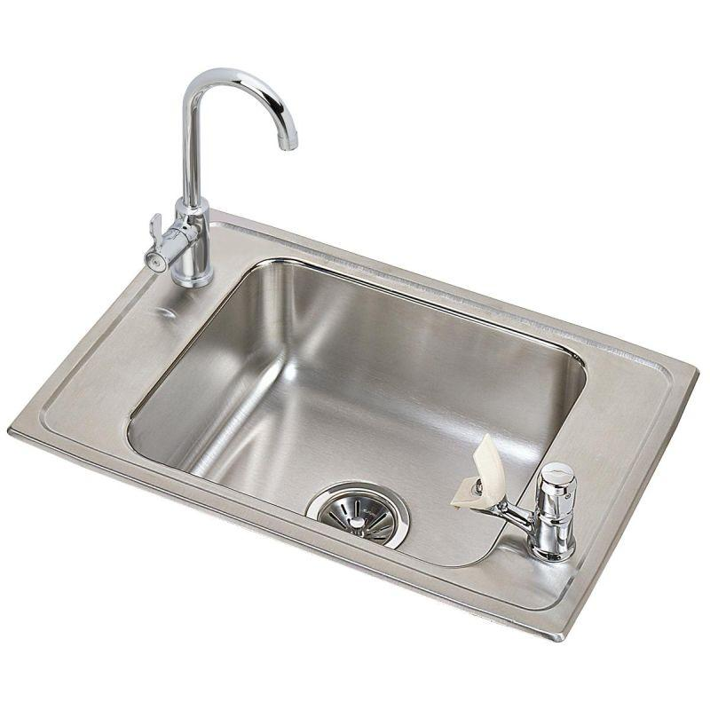 "Elkay CDKR2517C Celebrity Stainless Steel 25"" x 17"" x 6-7/8"", Single Bowl Top Mount Classroom Sink and Faucet / Bubbler Kit"