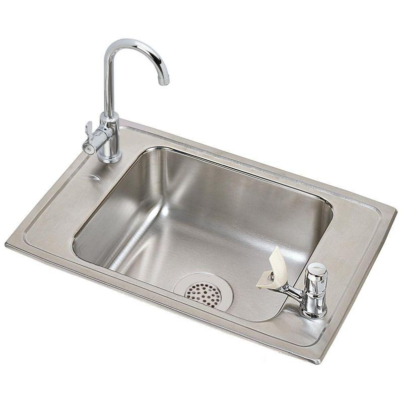 "Elkay CDKR2517VRC Celebrity Stainless Steel 25"" x 17"" x 6-7/8"", Single Bowl Top Mount Classroom Sink and Faucet / Bubbler Kit"