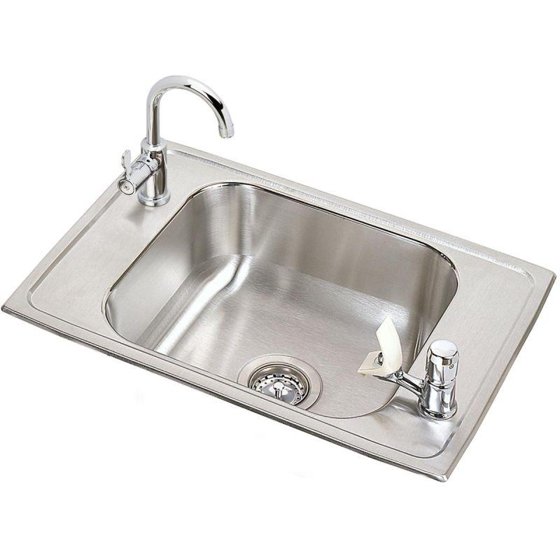 "Elkay CDKRC2517C Celebrity Stainless Steel 25"" x 17"" x 6-7/8"", Single Bowl Top Mount Classroom Sink and Faucet / Bubbler Kit"