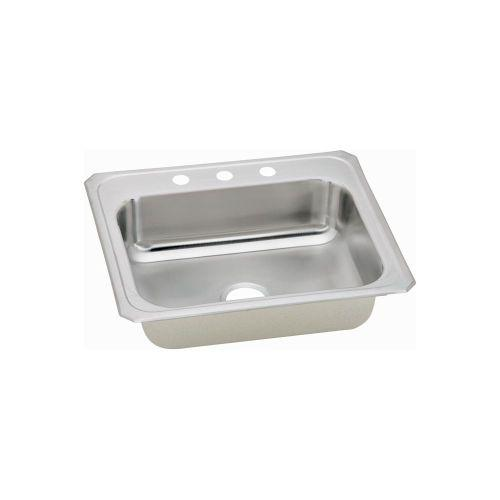 "Elkay CR25211 Celebrity Stainless Steel 25"" x 21-1/4"" x 6-7/8"", Single Bowl Top Mount Sink"