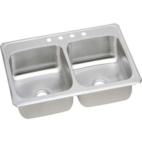 "Elkay CR33214 Celebrity Stainless Steel 33"" x 21-1/4"" x 6-7/8"", Equal Double Bowl Top Mount Sink"