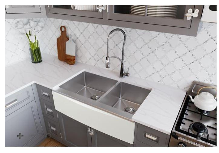 "Elkay Crosstown Stainless Steel 33-7/8"" x 17"" x 9"" Double Bowl Farmhouse Sink for Interchangeable Apron"