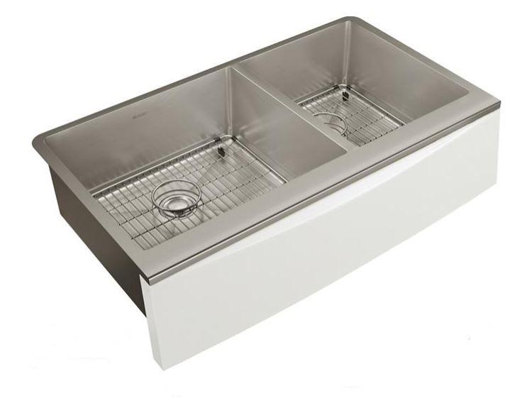 "Elkay Crosstown Stainless Steel 33-7/8"" x 17"" x 9"" Double Bowl Farmhouse Sink Kit for Interchangeable Apron"
