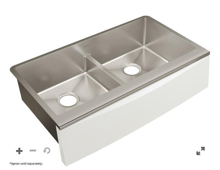 "Elkay Crosstown Stainless Steel 33-7/8"" x 17"" x 9"" Double Bowl Farmhouse Sink with Aqua Divide for Interchangeable Apron"