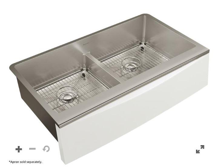 "Elkay Crosstown Stainless Steel 33-7/8"" x 17"" x 9"" Double Bowl Farmhouse Sink Kit with Aqua Divide for Interchangeable Apron"