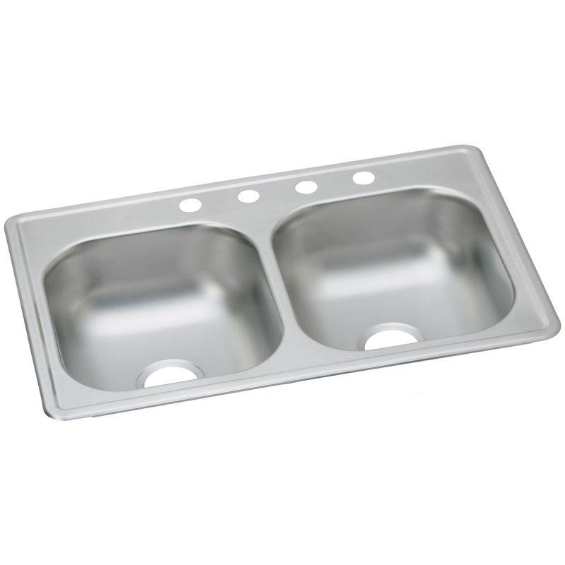 "Elkay D23319MR2 Dayton Stainless Steel 33"" x 19"" x 6-7/16"", Equal Double Bowl Top Mount Sink"