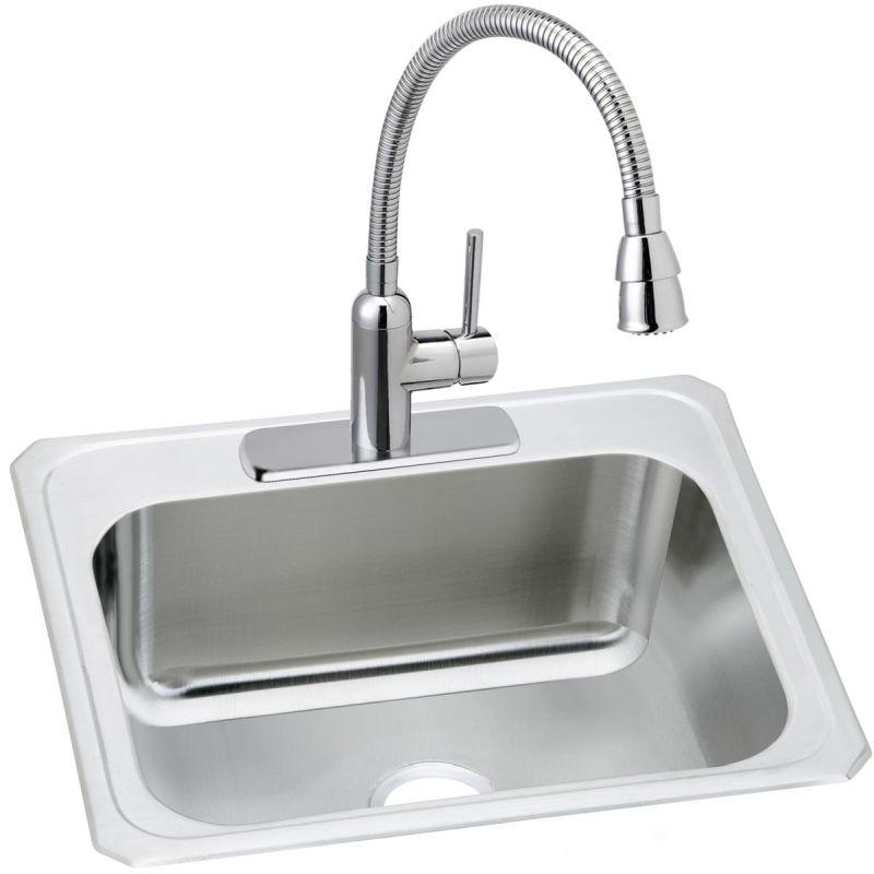 "Elkay DCR252210C Pursuit Stainless Steel 25"" x 22"" x 10-1/4"", Single Bowl Top Mount Sink and Faucet Kit"
