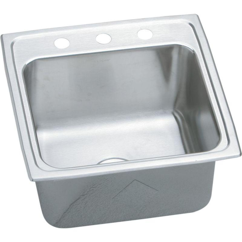 Elkay DLR1919102 Lustertone SS 19.5 x 19 x 10.1 Single Bowl Top Mount Laundry Sink