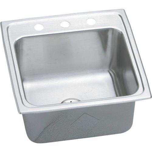 "Elkay DLR191910PD3 Lustertone Stainless Steel 19-1/2"" x 19"" x 10-1/8"", Single Bowl Top Mount Laundry Sink with Perfect Drain"
