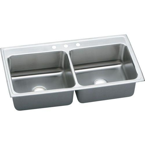 "Elkay DLR4322104 Lustertone Stainless Steel 43"" x 22"" x 10-1/8"", Equal Double Bowl Top Mount Sink"