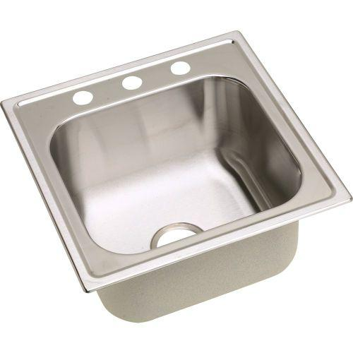 "Elkay DPC1202010MR2 Dayton Stainless Steel 20"" x 20"" x 10-1/8"", Single Bowl Top Mount Laundry Sink"