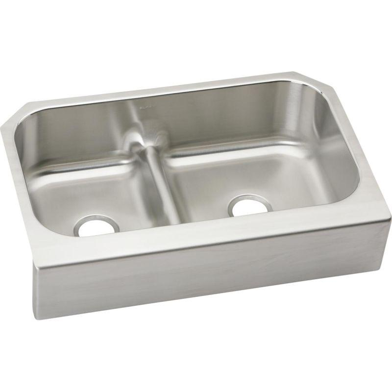 "Elkay EAQDUHF3523L Lustertone Stainless Steel 34-5/8"" x 23-1/16"" x 8-3/4"", 40/60 Double Bowl Farmhouse Sink with Aqua Divide"