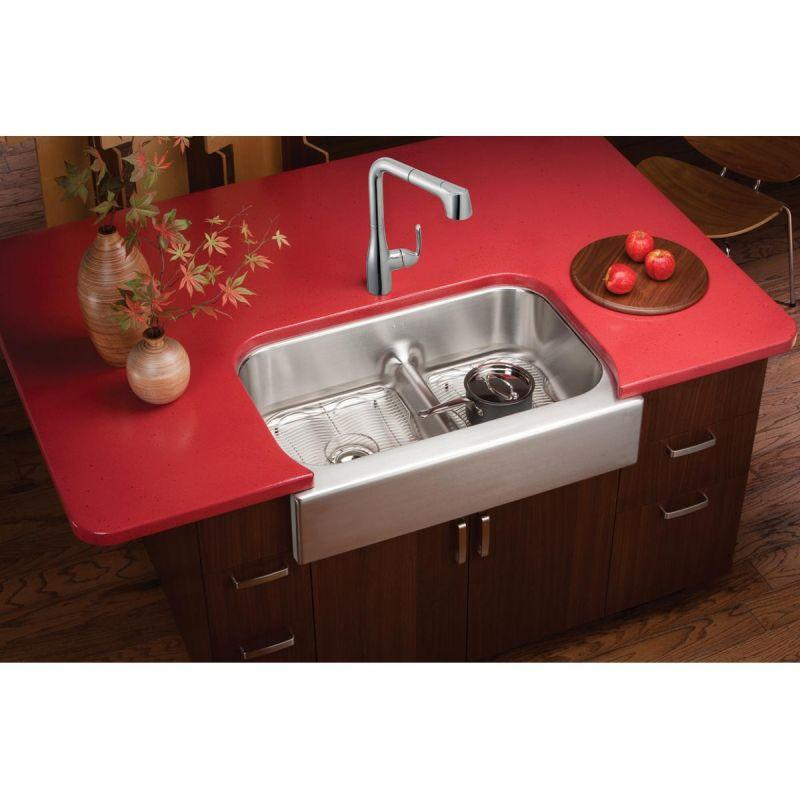 "Elkay EAQDUHF3523R Lustertone Stainless Steel 34-5/8"" x 23-1/16"" x 8-3/4"", 60/40 Double Bowl Farmhouse Sink with Aqua Divide"