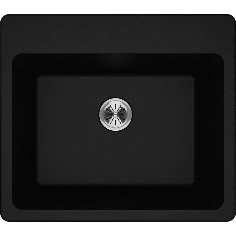 "Elkay ELG252212PDBK0 Quartz Classic 25"" x 22"" x 11-13/16"" Top Mount Laundry Sink with Perfect Drain, Black"