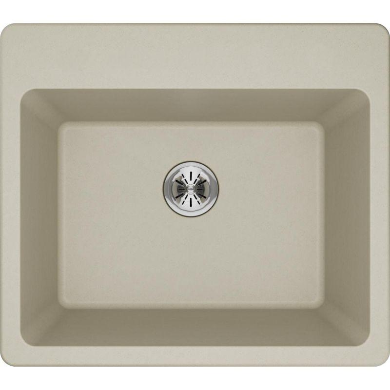 "Elkay ELG252212PDBQ0 Quartz Classic 25"" x 22"" x 11-13/16"" Top Mount Laundry Sink with Perfect Drain, Bisque"